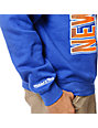 NBA Mitchell and Ness Knicks Zip Zag Blue Crew Neck Sweatshirt