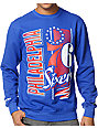 NBA Mitchell and Ness Sixers Zip Zag Blue Crew Neck Sweatshirt
