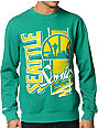 NBA Mitchell and Ness Sonics Zip Zag Green Crew Neck Sweatshirt