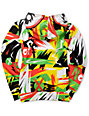 Neff Boys Jumbled Green & Red Full Zip Face Mask Hoodie