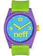 Neff Daily Pieced Corpo Purple, Green, & Blue Analog Watch