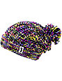 Neff Space Purple & Blue Pom Cuff Beanie