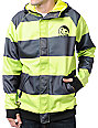 Neff Stripe Neon Yellow Zip Up Tech Fleece Jacket