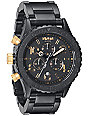 Nixon 42-20 Matte Black & Gold Chronograph Watch