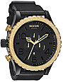 Nixon 51-30 Leather Black & Raw Gold Chronograph Watch