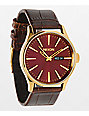 Nixon Sentry Brown Leather Analog Watch