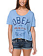 Obey All City Blue Mock Twist Gym T-Shirt