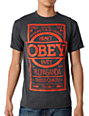 Obey Basic Label Charcoal & Red T-Shirt