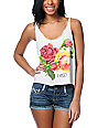 Obey Bed Of Roses Natural Broken Crop Tank Top