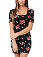 Obey Black Floral Body Con Dress