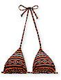 Obey Black Tribal Triangle Bikini Top