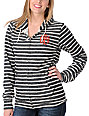 Obey Crest Front Heather Black & White Stripe Zip Up Hoodie
