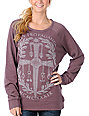 Obey Dagger Crest Medium Brown Pullover Sweatshirt
