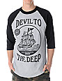 Obey Devil to the Deep Black & Grey Baseball T-Shirt