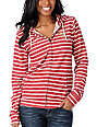 Obey Dove Red & White Stripe Zip Up Hoodie