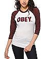 Obey Font White & Burgundy Baseball Tee