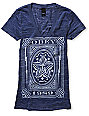 Obey Imperial Label Blue V-Neck T-Shirt