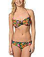 Obey Kozmic Fleur Floral Bandeau Bikini Top