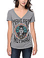 Obey Make Art Not War Grey V-Neck T-Shirt