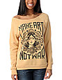 Obey Make Art Not War Vandal Yellow Crew Neck Sweatshirt