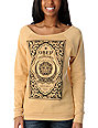 Obey Moroccan Label Yellow Vandal Scoop Neck Sweatshirt