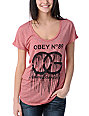 Obey OG Graffiti Red Scoop Neck T-Shirt