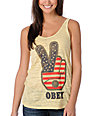 Obey Peace Fingers Yellow Burnout Tank Top