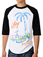 Obey Permanent Vacation Black & White Baseball T-Shirt