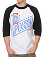 Obey Posse Light Black & White Baseball T-Shirt