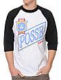Obey Posse Light Black & White Baseball T-Shirt