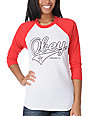 Obey Script Red & White Baseball Tee