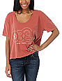 Obey Voices Records Rust Red Vintage Crop T-Shirt