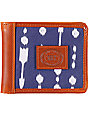 Obey Yuma Navy Blue & Brown Bifold Wallet