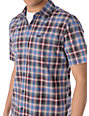 RVCA Clancy Navy Plaid Short Sleeve Button Up Shirt