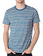 RVCA Jet Crew Blue Stripe Knit T-Shirt