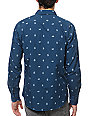 RVCA Leaving Blue Print Long Sleeve Woven Button Up Shirt