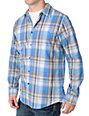 RVCA Mens Raceway Blue Plaid Long Sleeve Woven Shirt