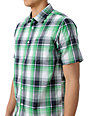 RVCA Riviera Green Plaid Short Sleeve Button Up Shirt