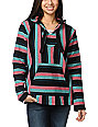 Senor Lopez Black, Coral, & Mint Poncho