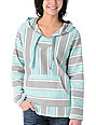 Senor Lopez Retro Mint, Grey & Peach Baja Poncho