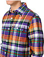 Stussy Leopold Purple Plaid Flannel Button Up Shirt