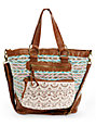 T-Shirt & Jeans Tribal Crochet & Cognac Faux Leather Tote Bag