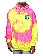 Teenage Madness Pink & Yellow Tie Dye Hoodie