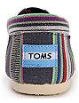 Toms Classics Denim Stripe Womens Slip On Shoes