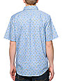 Valor Playa Blue Flower Short Sleeve Button Up Shirt
