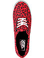 Vans Authentic Lo Pro Red Leopard Print Shoes (Womens)