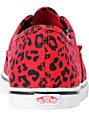 Vans Authentic Lo Pro Red Leopard Print Shoes (Womens)