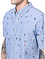 Vans Rusden Mini Palm Blue Short Sleeve Button Up Shirt