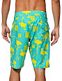 Volcom 26TH ST Aqua Green & Yellow Flamingo 20 Board Shorts