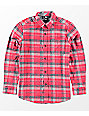 Volcom Boys Caden Red Woven Flannel Shirt